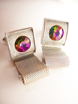 Shields Watermelon Rivoli Vintage Cufflinks Glass Prism Wedding Businessman - $55.00