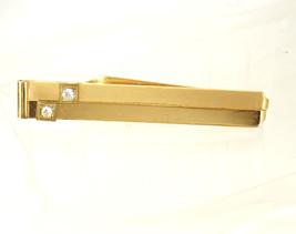 Vintage Rhinestone Golden Color Tie Clip Polished Brushed Birthday Busin... - $35.00
