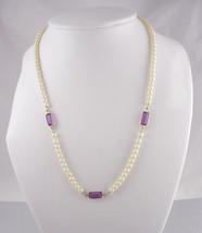 Vintage Pearl  amethyst necklace Communion or wedding mother of the bride brides - $45.00