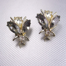 Vintage Dodds FLy Earrings insect rhinestone smoky topaz clip on - $35.00