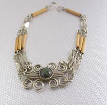 Artisan Green jasper Gypsy Bracelet fancy Sculpted wirework 8 inches lon... - $45.00