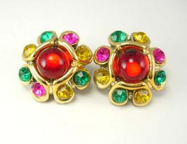 Vintage Runway Rhinestone Earrings Pierced Fancy Wedding Birthday - $20.00