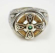 Sterling Maltese Cross Vintage Ring Large Mens Sapphire Celtic Medieval ... - $225.00