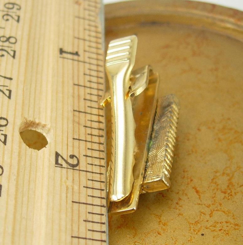 Hematite Cabochon Bamboo Tie Clip Vintage Gold Filled Birthday Wedding Valentine