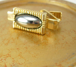 Hematite Cabochon Bamboo Tie Clip Vintage Gold Filled Birthday Wedding V... - $60.00