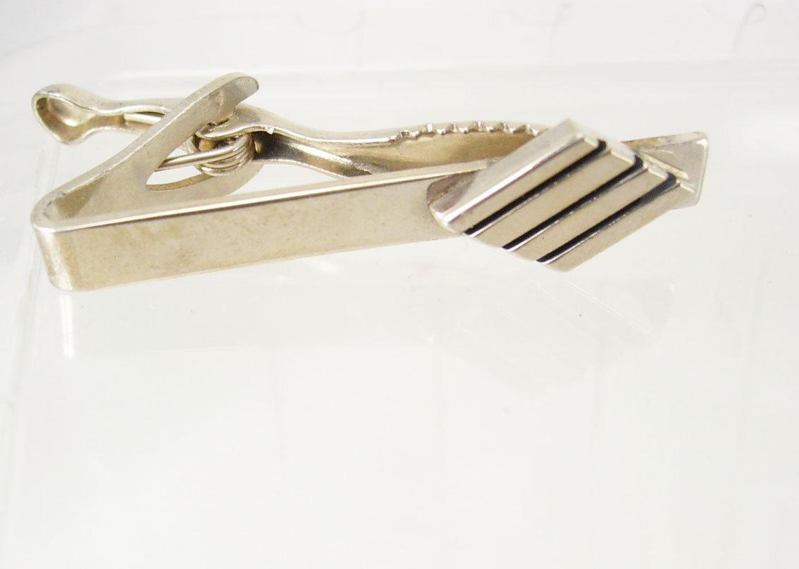 Vintage Modernist Design Tie Clip Enamel Birthday Wedding Business