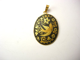 Vintage Damascene Enamel Pendant Victorian Love Bird Design Mothers Day ... - $65.00