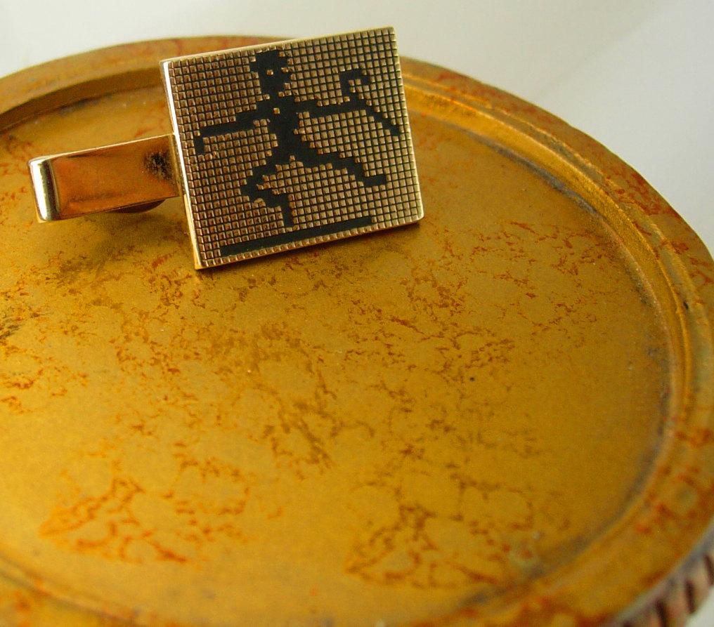 Swank Lego Dancing Man Tie Clip Vintage Tap Dance Hat Cane Black Enamel Gold Fil image 2