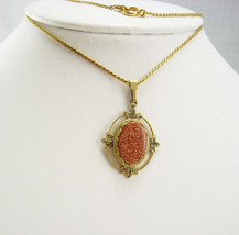 Vintage Fancy Goldstone Necklace Pendant Chain Wedding Anniversary Business - $20.00