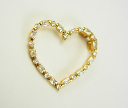 Vintage Rhinestone Heart Pendant Sterling Silver Baguettes Round Stones ... - $55.00