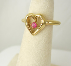 Genuine Ruby Mothers Ring Vintage Gold Over Silver Golden Heart Sweethea... - $65.00