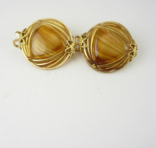 Hillcraft Earrings 10k Gold filled Tiger eye Czech Carved Glass Vintage ... - $45.00