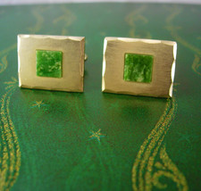 JADE and GOLD filled Cufflinks Vintage Diamond Cut Edges Designer Dante Decorati - $60.00