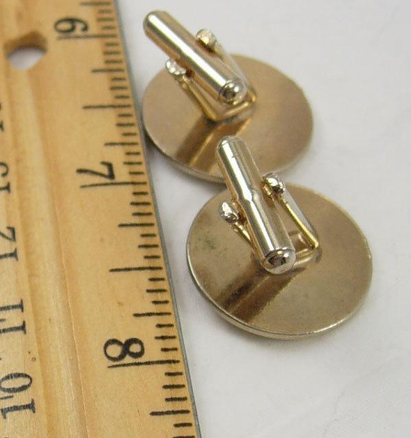 Vintage Goldtone Round Destash Cufflinks Concave Birthday Wedding Business
