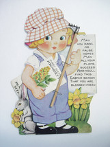 Vintage Cut Out Doll Bunny Land Seed Co Advertising Card of Little Girl Gardener - $65.00