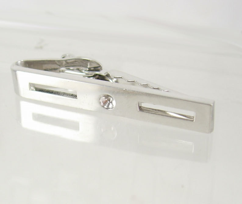 Vintage Silvertone Industrial Bar Tie Clip Birthday Wedding Business