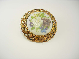 Vintage Hand Painted Pendant Cameo Flowers Anniversary Wedding - $30.00