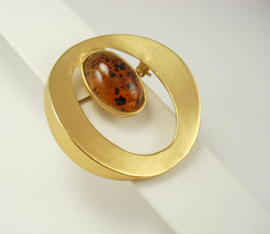 Vintage Faux Amber Brooch Modernist Large Wedding Birthday Mothers Day - $20.00