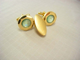Vintage Holograph Iridescent Cufflinks Bonus Tie Clip Swank Wedding Busi... - $55.00