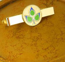 Vintage Scandinavian Enamel Leaf Tie Clip Blue Green Flower Holidays Bir... - $40.00