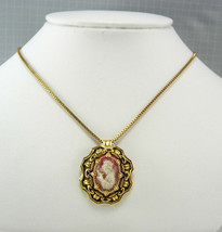 Vintage Geisha Cameo Pendant Necklace Box Chain Wedding Business Anniver... - $40.00