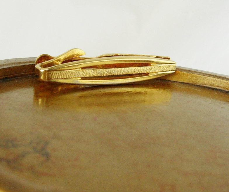 Swank Gold Filled Etched Tie Clip Vintage Retro Design Birthday Business Wedding image 3