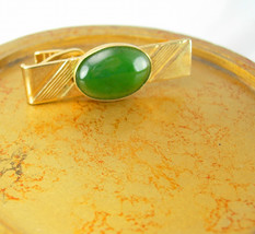 Large Green Jade Cabochon Tie Clip Golden Birthday Valentines Wedding - $45.00