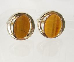 Vintage Round Tiger Eye Cufflinks Golden Tone Birthday Wedding Business Signed D - $55.00
