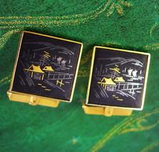Vintage Amita Damascene Japan Cufflinks  Scenic Jewelry Decorative Cuff Accessor - $90.00