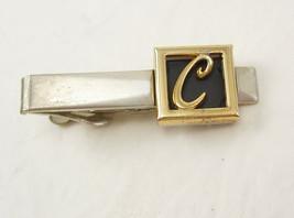 Vintage Initial C Shadow Box Tie Clip Signet Black Enamel Two Tone Birthday Wedd - $20.00