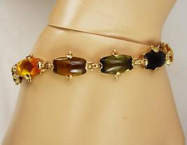 Vintage Monet Rhinestone Signed Bracelet Gold Filled Cabochon Peridot To... - $45.00