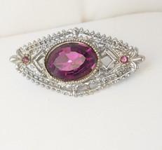 Exquisite Vintage Victorian Design Amethyst Brooch Purple Glass Birthday... - $60.00