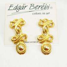Vintage Golden Color Pendant Earring Pierced Birthday Wedding Anniversar... - $45.00