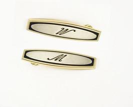 Vintage Oval Letter W M Tie Clip Signet Brushed  Enamel  Hickok USA - $25.00