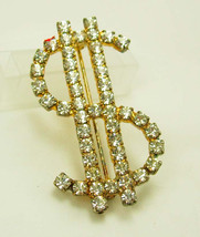 Vintage Dollar Sign Brooch Austrian Crystal Rhinestones Real Estate Agen... - $30.00