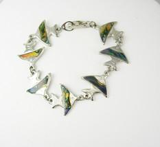 Vintage Angel Fish Abalone Bracelet Silver Holidays Birthday Friendship ... - $40.00