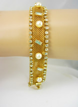 Vintage wedding bracelet Gold Mesh Rhinestone Pearl Baroque Bracelet 6 1... - $95.00