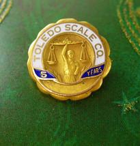Toledo Scale Co Lapel Pin Vintage 5 Year Service Pinback Justice Scale U... - $55.00