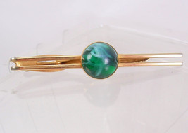 Vintage Green Slag Dome Top Tie Clip Marbleized  Birthday Wedding Business Signe - $45.00