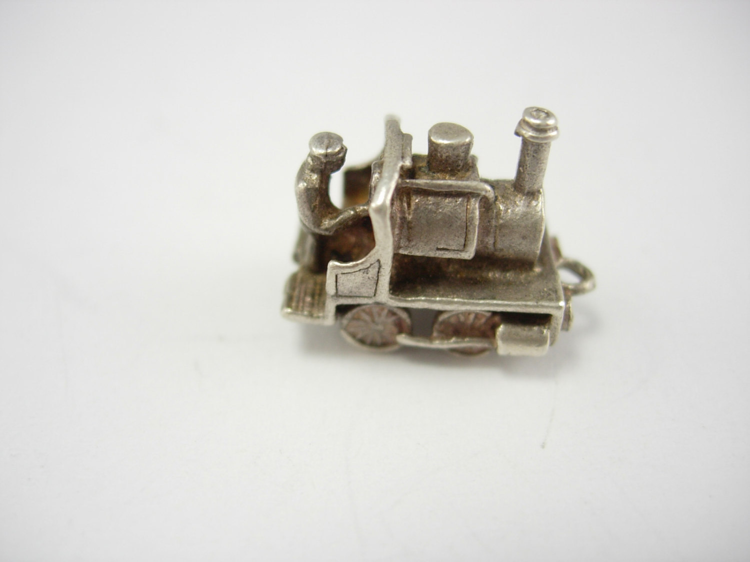 Primary image for Vintage Steam Locomotive Charm Pendant Silver Train Engineer Birthday Anniversar