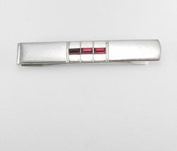 Vintage Art Deco Silvertone Tie Clip Red Jewel Baguettes Birthday Weddin... - $45.00