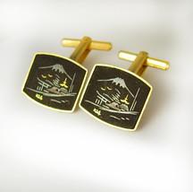 Damascene 24 karat  Gold Front Inlay Cufflinks Vintage Hinged Backs Japanese Wed - $95.00