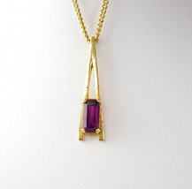 Amethyst Jeweled Necklace Vintage Purple Rhinestone Pendant 22 Inch Gold... - $20.00