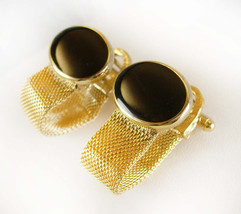CLASSY Black Gold Mesh Wrap Cufflinks Vintage Classic Shirt Accessory me... - $80.00