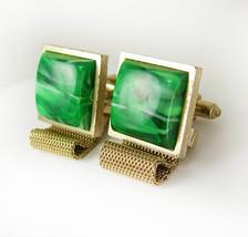 Dante Faux Malachite Mesh Wrap Cufflinks Vintage Green Business Wedding Annivers - $80.00