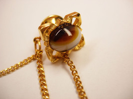Vintage Banded Agate Tie Tac Swag Chain Business Wedding Signed Dante - $15.00