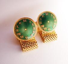 Enamel Vintage Wedding Cufflinks Wrap Mesh Green Clock Face Groom Father on the  - $85.00