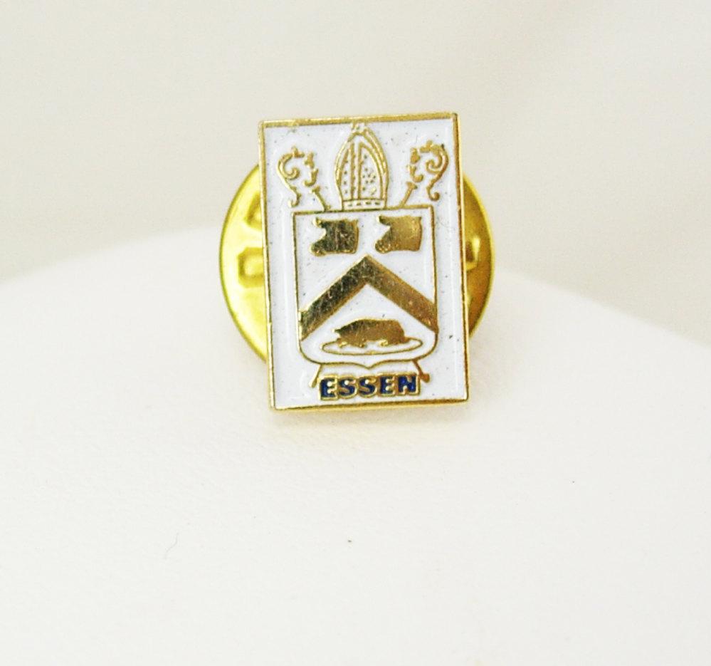 Essen Germany Enamel Tie Tac Lapel Pin Religious Vintage White Deutsche Tourist  - $45.00