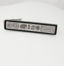 Vintage Initial JPG Brushed Silvertone Tie Clip Monogram Black Wedding B... - $35.00