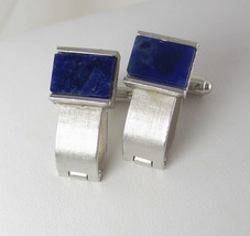 Dante Blue Lapis Cufflinks Vintage Hinged Backs Wedding Anniversary Holiday - $90.00